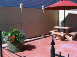 Wieser-Doric - Patio Products: beautiful stained concrete tables, picnic tables, planters, and benches.